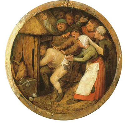 The Drunkard Pushed into the Pigsty Pieter Bruegel